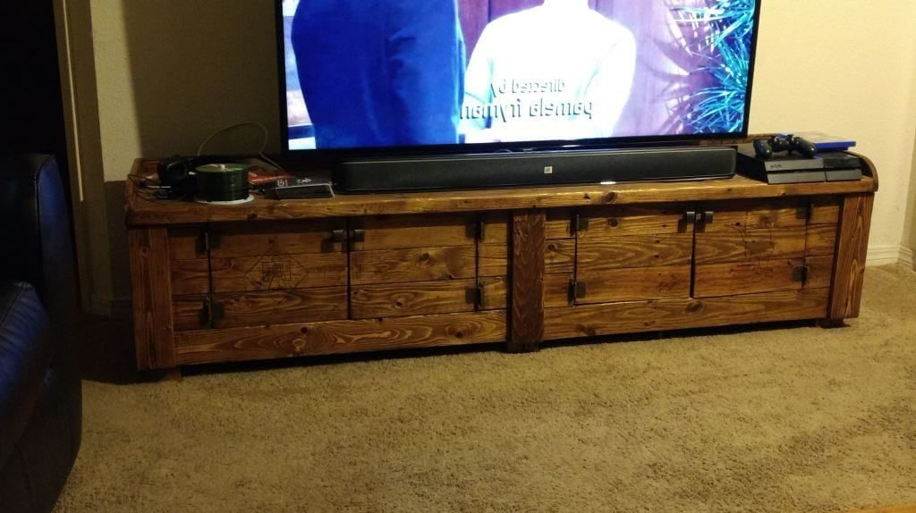 Cherry Wood Tv Cabinets Pertaining To Famous Furniture: Chest Inspired Vintage Wood Pallet Tv Stand Featuring (View 16 of 20)