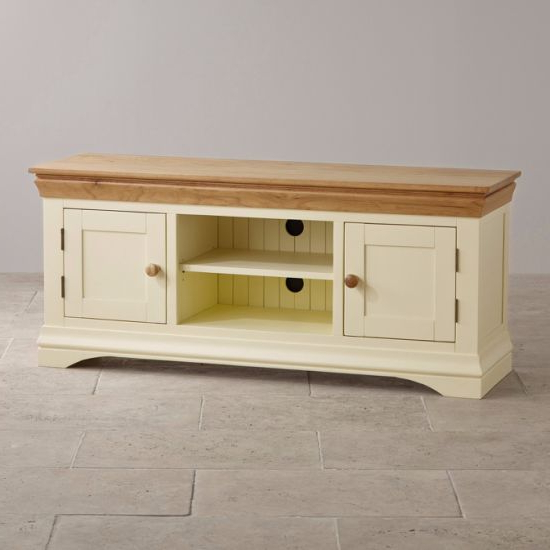 China Painted White Oak Solid Wood Wide Screen Tv Stand Cabinet Within Preferred Wide Screen Tv Stands (Gallery 15 of 20)