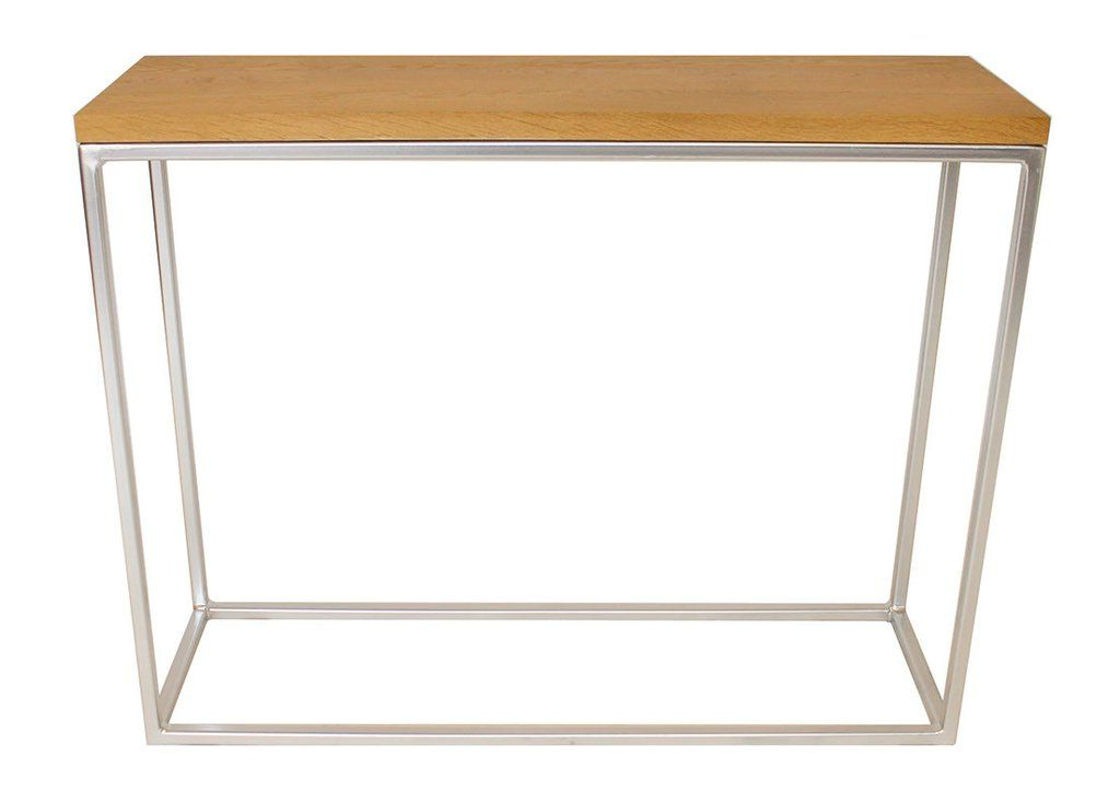 Chrome Effect Metal Frame With Soild Oak Top Console Table (Gallery 1 of 20)