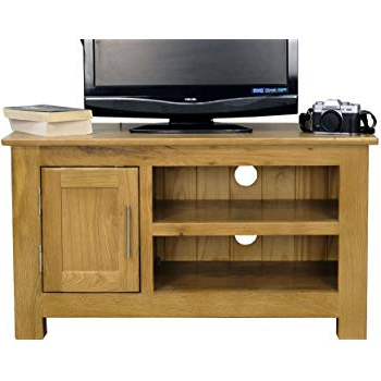 Chunky Tv Cabinets Inside Fashionable Oakland Solid Chunky Oak Small Tv Dvd Video Unit: Amazon.co (View 14 of 20)