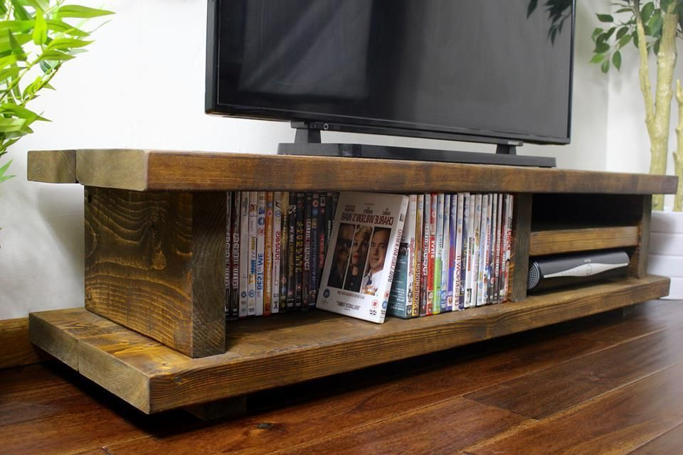 Chunky Wood Tv Units In Most Up To Date Chunky Rustic Tv Audio Unit / Cabinet Solid Wood Oak Stain ~Handmade (Gallery 4 of 20)