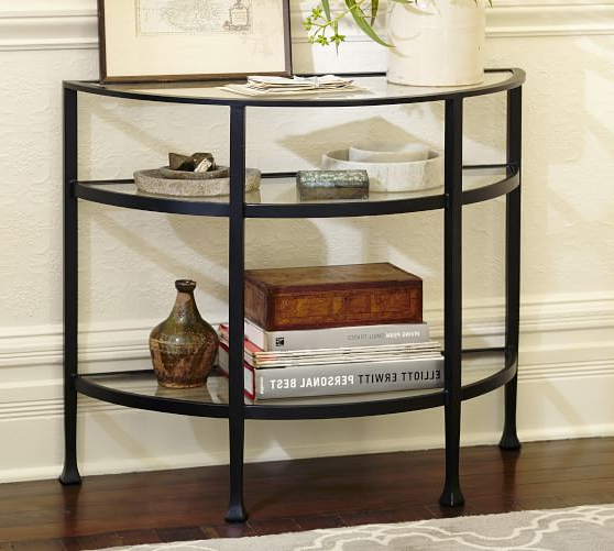 Clairemont Demilune Console Tables Intended For Recent Tanner Demilune Console Table Bronze Finish Pottery Barn Demilune (Gallery 11 of 20)