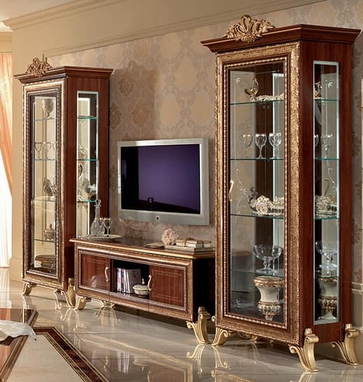 Classic Tv Cabinet With Side Display Cabinet, With Golden In Most Recent Classic Tv Stands (View 4 of 20)