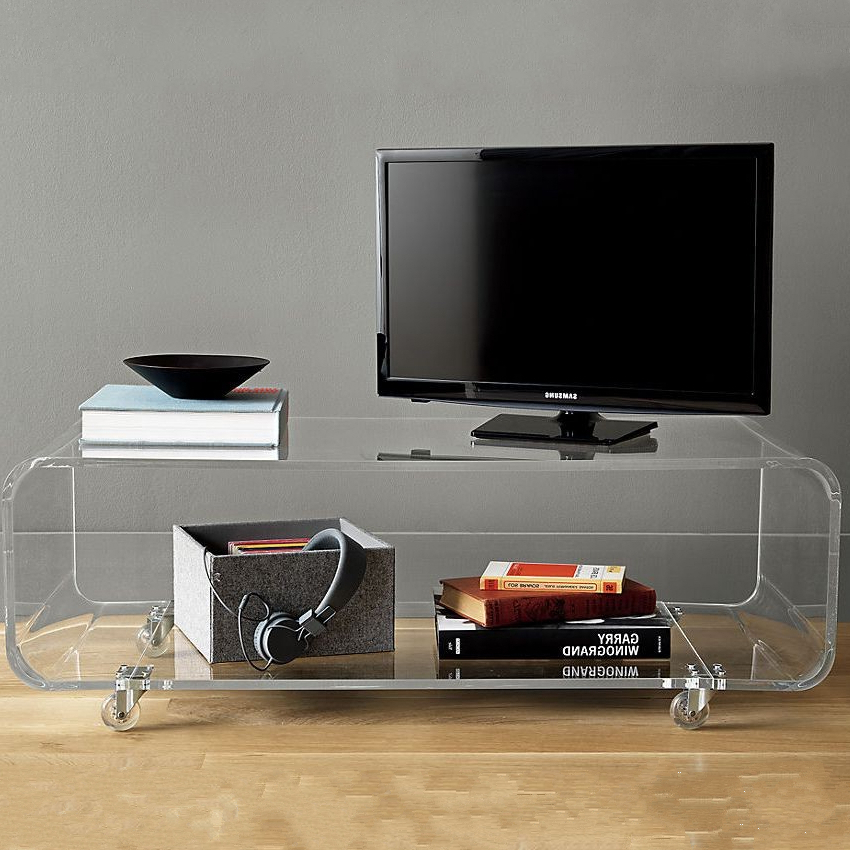 Clear Acrylic Tv Stands Pertaining To 2017 Clear Acrylic Tv Stands With Wheels / Plexiglass Movable Console (View 9 of 20)