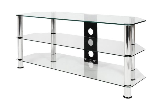 Clear Glass Tv Stand Inside Well Liked Mountright Ums4C Clear Glass Tv Stand For 32 Up To 60 Inch 105Cm (Gallery 14 of 20)