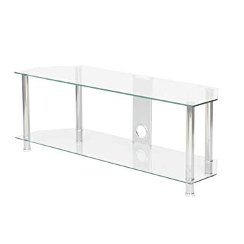Clear Glass Tv Stand Pertaining To Current Mmt Clear Glass Tv Stand 2 Shelf Unit 1200Mm For 32: Amazon.co (View 11 of 20)