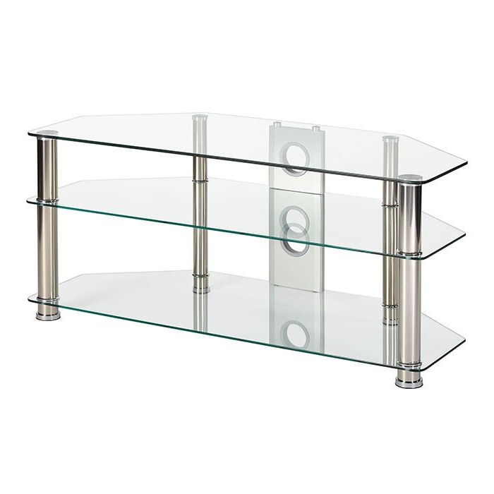 Clear Glass Tv Stand With Regard To Most Current Mmt P5Cch1200 Rome Extra Large Clear Glass Corner Tv Stand For (View 2 of 20)