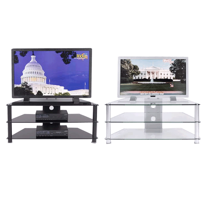 Clear Or Black Glass 3 Shelf Tv Stand For 24 46 Inch Screens Tvm 018 In Newest Floating Glass Tv Stands (View 6 of 20)