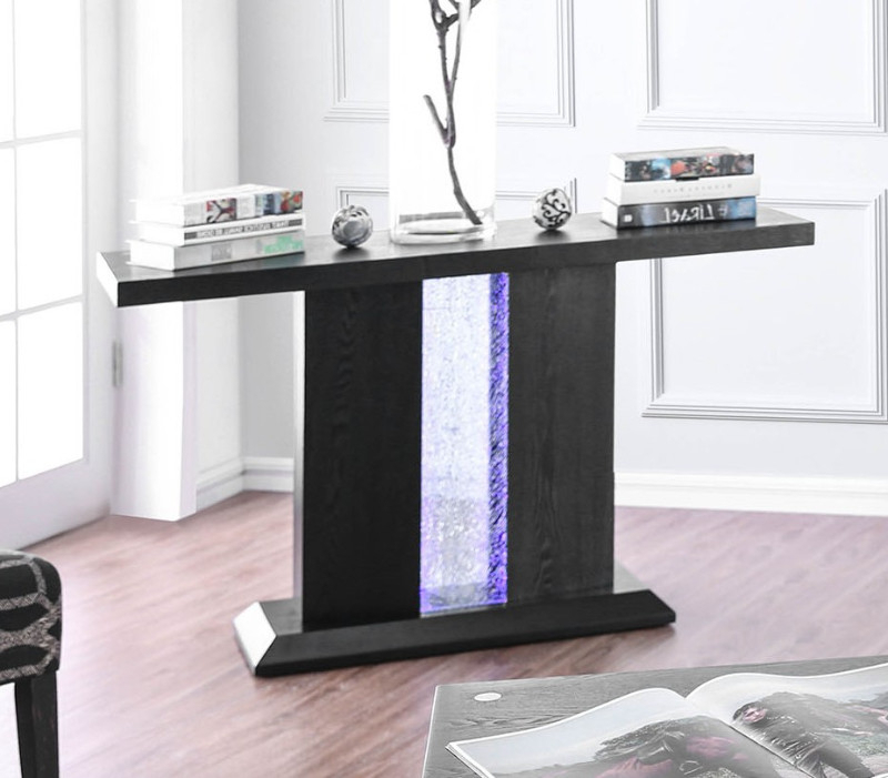 Cm4252s Tobias Black Finish Wood Sofa Entry Console Table With Led's Within Most Up To Date Tobias Media Console Tables (View 14 of 20)