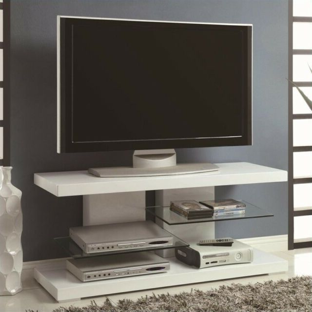 Coaster Tv Stand With Alternating Glass Shelves In White – 700824 (Gallery 20 of 20)