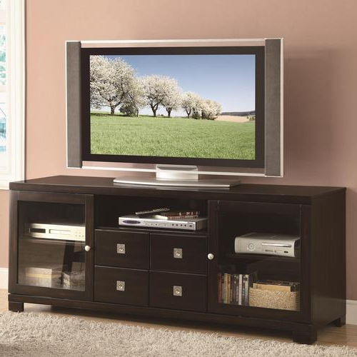 Coaster Tv Stands Contemporary Dark Mahogany Tv Console Within Latest Mahogany Tv Stands (View 2 of 20)