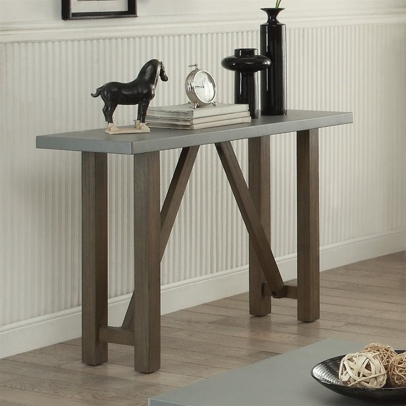 Concrete Top Console Table Awe Parsons Dark Steel Base 48X16 Reviews For Well Liked Parsons Concrete Top & Brass Base 48X16 Console Tables (View 4 of 20)