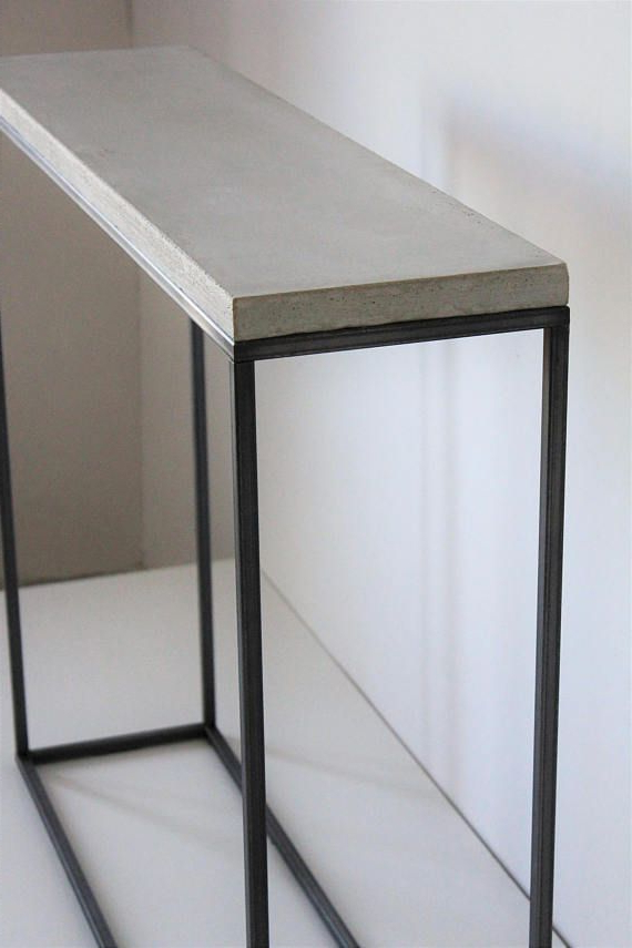 Concrete Top Console Table Stunning Parsons Dark Steel Base 48x16 Within Most Current Parsons Concrete Top & Dark Steel Base 48x16 Console Tables (View 14 of 20)