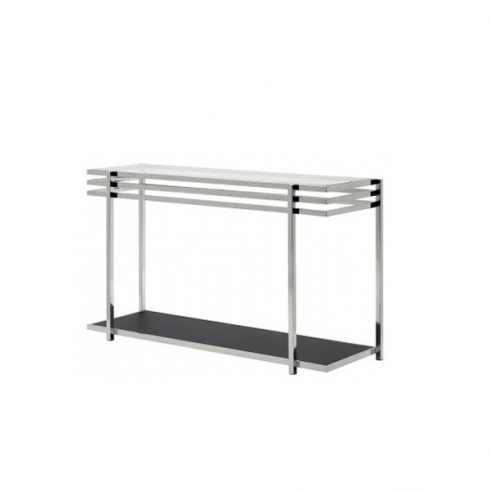 Console Table With Glass Top And Geometric Chrome Base 36 Era Throughout Latest Era Glass Console Tables (Gallery 6 of 20)