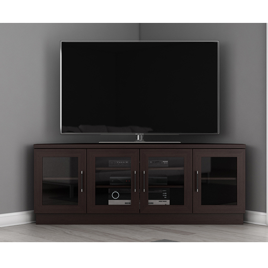 Contemporary Corner Tv Stands Pertaining To Latest Furnitech Ft60Cccw – Contemporary Corner Tv Stand Media Console Up (Gallery 18 of 20)
