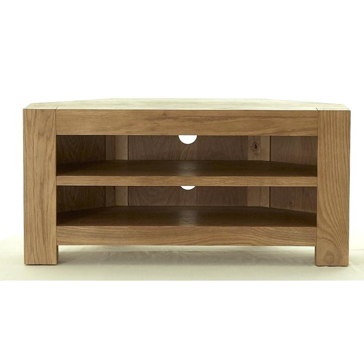 Contemporary Corner Tv Stands Within Most Current Modern Corner Tv Stand Chunky Oak Unit Cabinet Free Delivery In Home (Gallery 8 of 20)