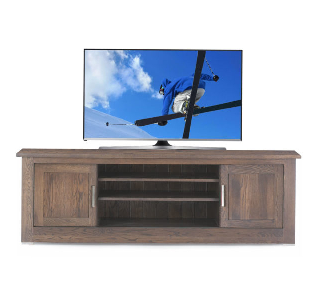 Contemporary Oak Tv Cabinets Inside Widely Used Quercus Solid Oak Tv Unit  (View 5 of 20)