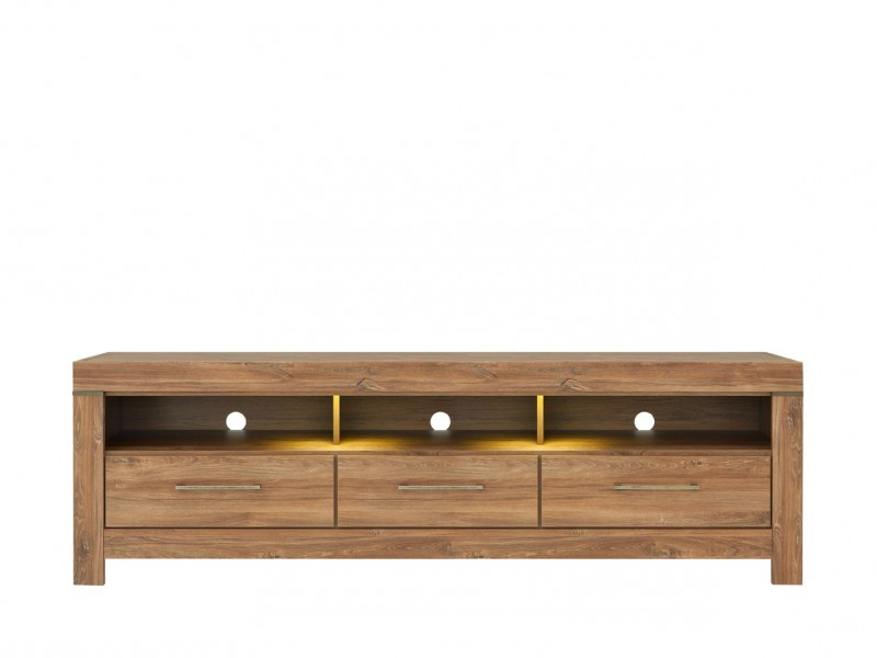 Contemporary Oak Tv Stands With Widely Used Modern Oak Finish Tv Unit Storage Drawers Tv Cabinet & Led Light (View 7 of 20)