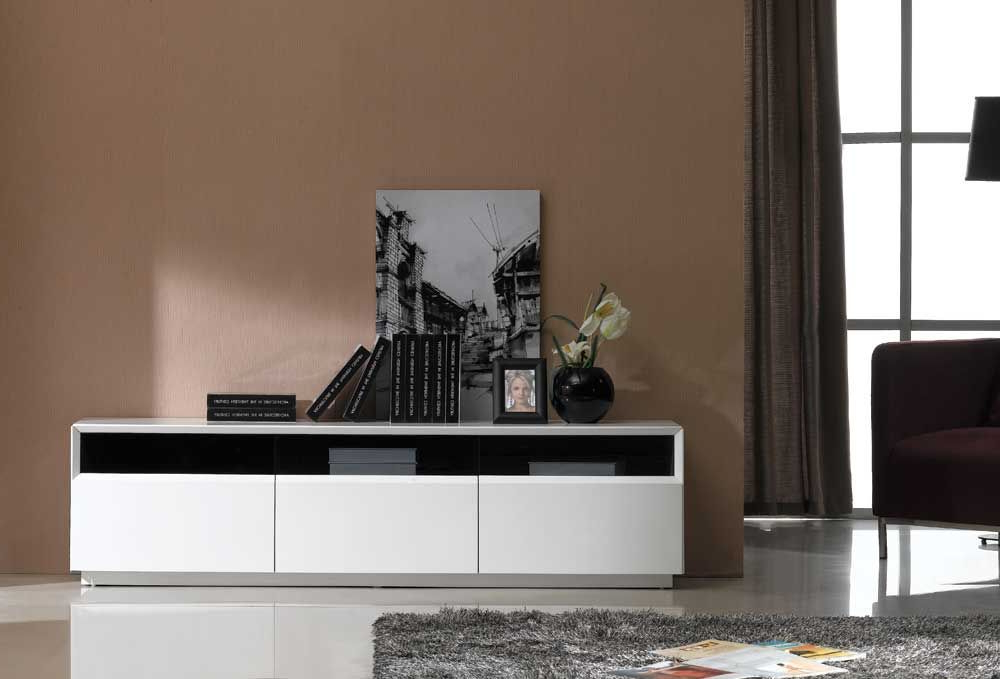 Contemporary Tv Stand In Dark Oak Or White Gloss Finish Modesto With Regard To 2017 Modern White Gloss Tv Stands (View 4 of 20)