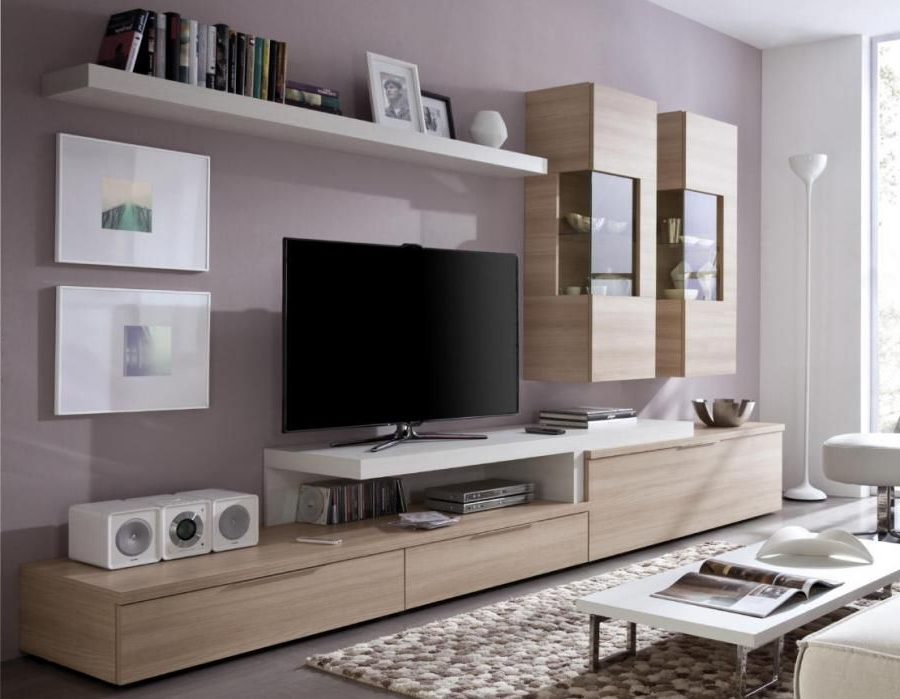 Contemporary Wall Storage System With Tv Shelf, Display Cabinets And Throughout Well Known Wall Display Units And Tv Cabinets (View 1 of 20)