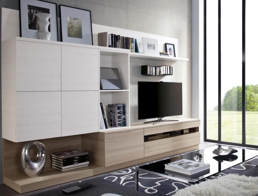 Contemporary Wall Storage System With Wall Cabinets And Tv Unit Within Newest Tv Units With Storage (Gallery 20 of 20)