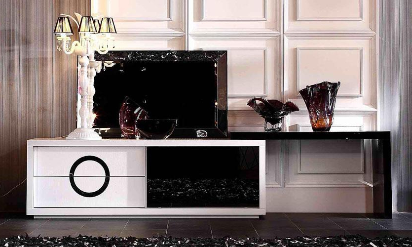 Contemporary White And Black Crocodile Texture And Lacquer Tv Stand Inside Favorite Modern White Lacquer Tv Stands (View 16 of 20)