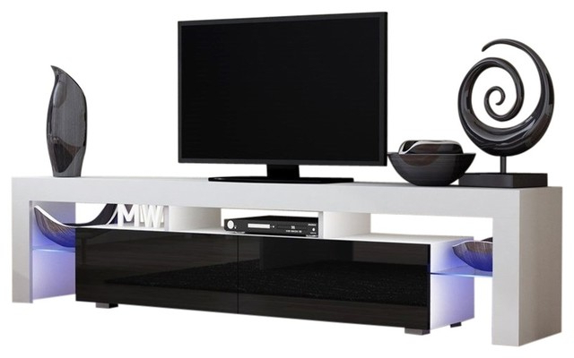 "Contemporary White Tv Stands Inside Preferred Tv Stand Milano 200 White Body Modern 90"" Tv Stand Led (View 5 of 20)"