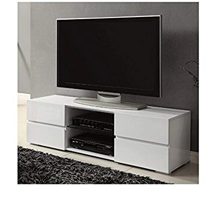 Contemporary White Tv Stands Throughout 2018 Amazon: Contemporary White Tv Stands For Flat Screens White (View 6 of 20)