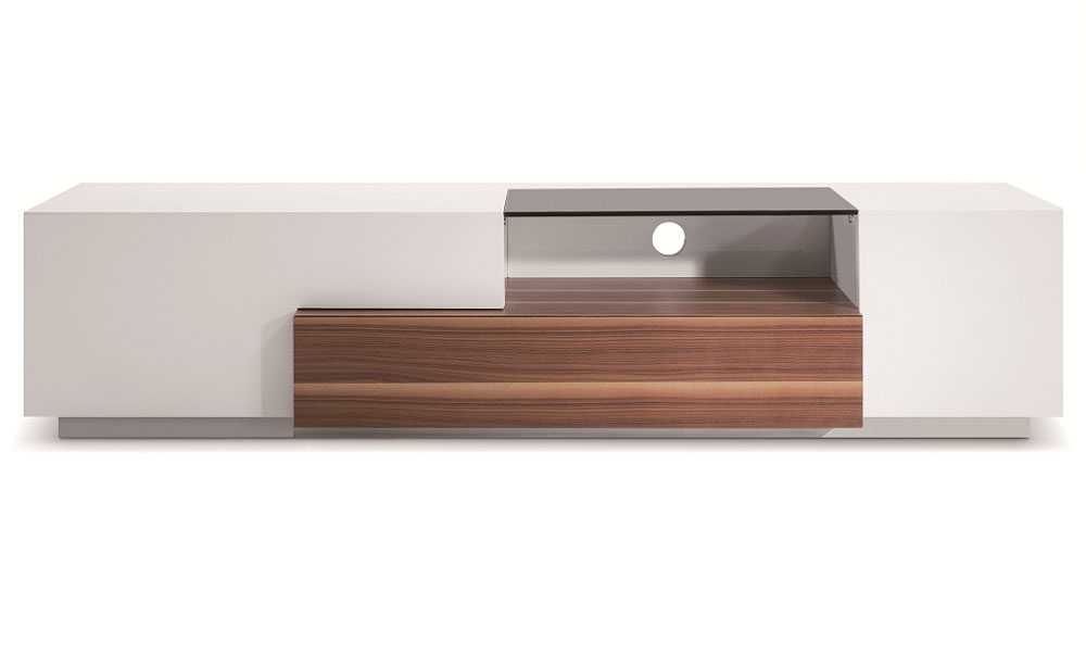 Contemporary Wooden Tv Stand In White Lacquer And Walnut Detroit Within Current White And Wood Tv Stands (View 5 of 20)