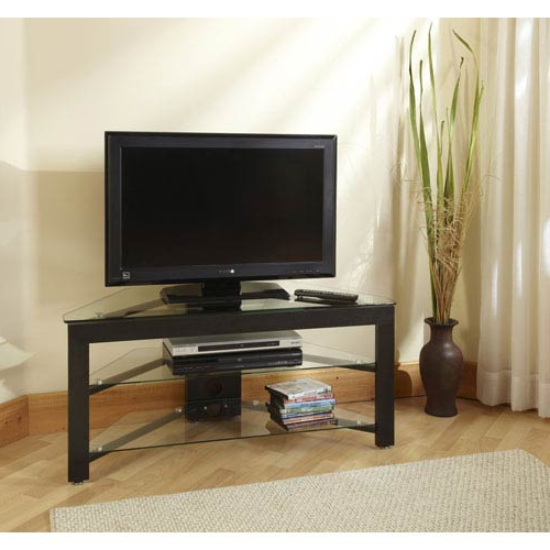 Convenience Concepts Black Wood Grain And Glass Corner Tv Stand Tv With Regard To Best And Newest Tv Stands For Corners (View 3 of 20)
