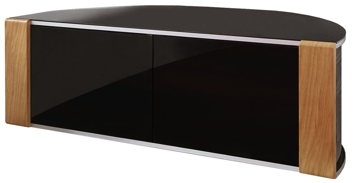 Corner Oak Tv Stands Throughout Famous Sirius 1200 Black And Oak Corner Tv Cabinet (View 4 of 20)