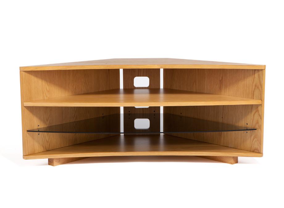 Corner Oak Tv Stands With Current Optimum Cave Corner Oak Tv Stand – Wood Tv Stands – Audiovisual (Gallery 3 of 20)