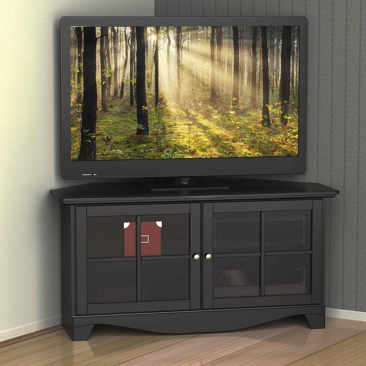 Corner Tv Cabinet Glass Stand Black Oak With Doors Techlink Bench Regarding Best And Newest Wooden Tv Stands With Glass Doors (View 2 of 20)