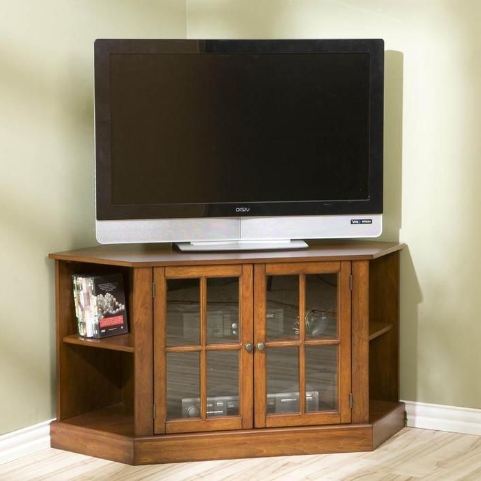 Corner Tv Cabinets For Flat Screen Within Well Known On Either Side Sits A Corner Shelf For Storing Media, Books, Or (Gallery 19 of 20)