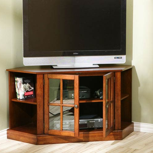 Corner Tv Cabinets For Flat Screens With Doors With Regard To Most Recent Corner Tv Cabinets & Stands (View 8 of 20)