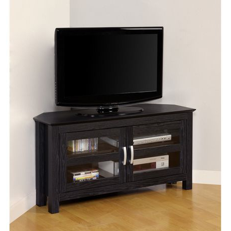 Corner Tv Cabinets With Glass Doors Regarding Most Current We Furniture Black Wood Corner Tv Stand With Glass Doors (View 7 of 20)