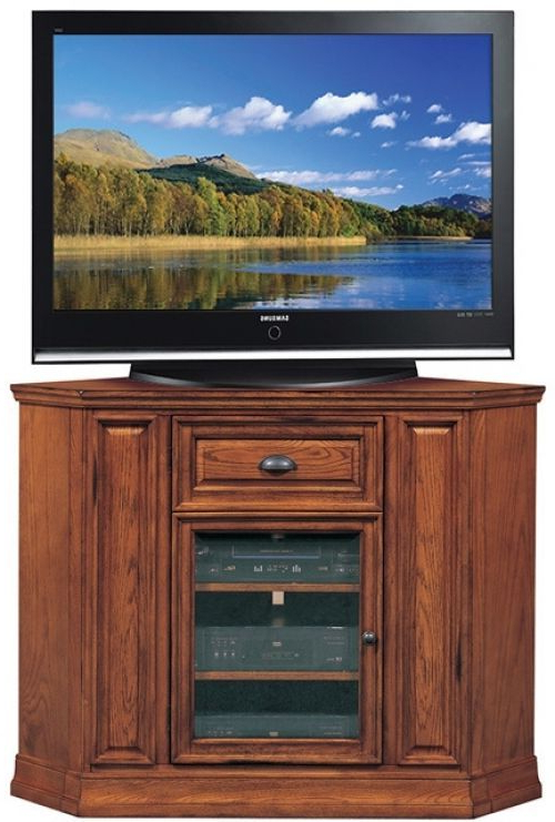 Corner Tv Cabinets With Glass Doors With Regard To Widely Used 42 Inch Corner Tv Stand Oak Wood Finish Adjustable Shelving Glass (View 11 of 20)