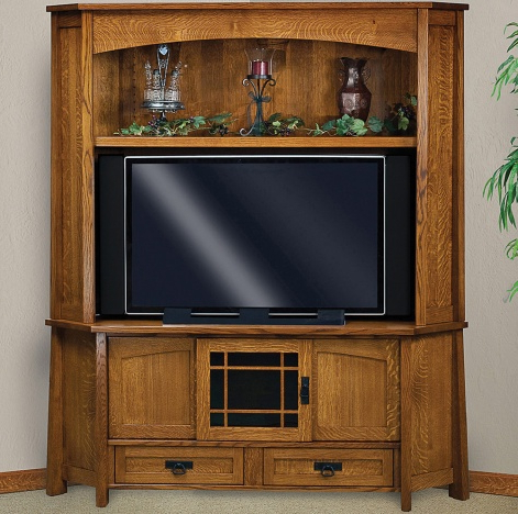 Corner Tv Cabinets With Hutch For Most Current Amish Mission Style Corner Tv / Media Stand – Mariposa Corner Tv (View 3 of 20)