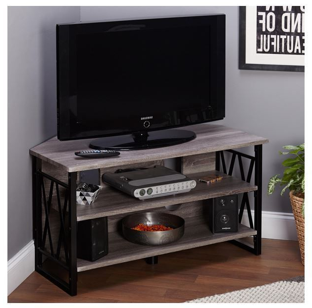 Corner Tv Stand Compact Entertainment Center Open Storage Shelves 40 Throughout Famous Compact Corner Tv Stands (Gallery 17 of 20)