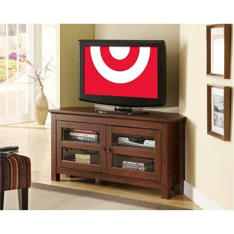 Corner Tv Stand With Glass Door – Brown $159 Target (View 3 of 20)