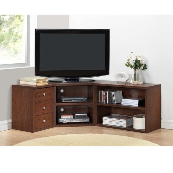 Corner Tv Stand Wood Flat Screen Entertainment Center Media Console Regarding Popular Corner Tv Cabinets For Flat Screens (View 5 of 20)
