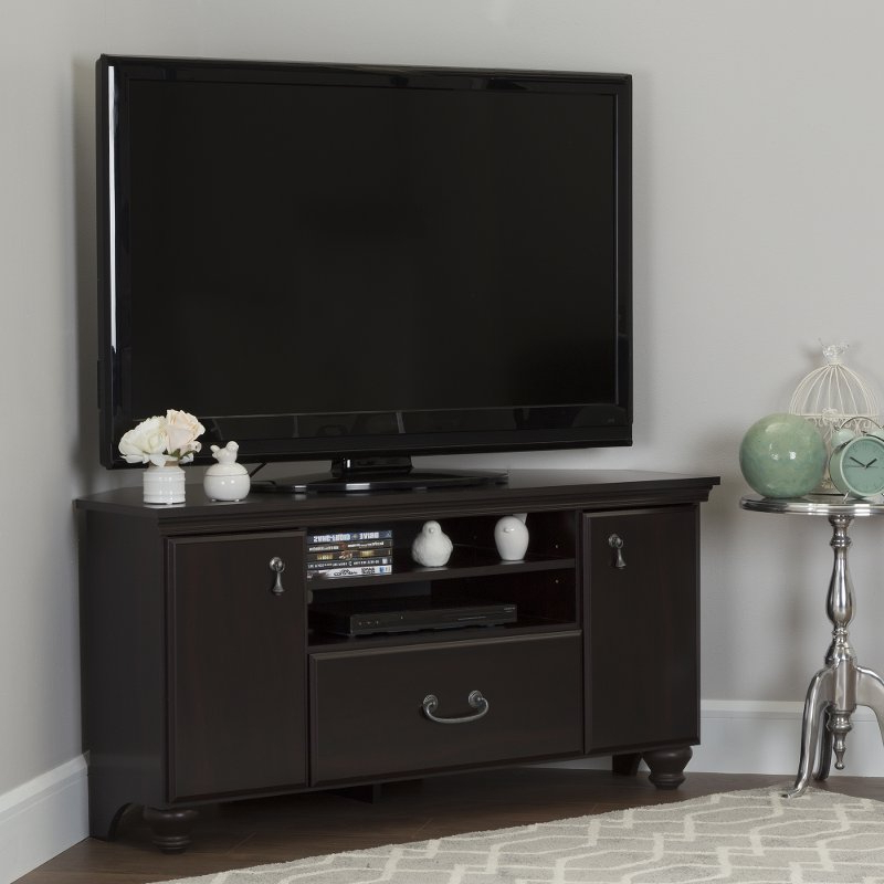 Corner Tv Stands For 55 Inch Tv With Regard To Current Dark Mahogany Corner Tv Stand For Tvs Up To 55 Inch – Noble (View 10 of 20)