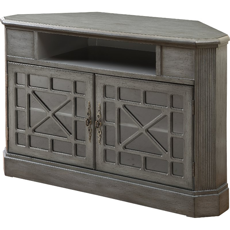Corner Tv Stands Pertaining To Fashionable 50 Inch Textured Gray Corner Tv Stand (Gallery 13 of 20)