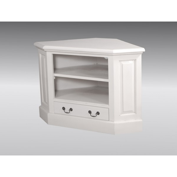 Corner Tv Unit – Single Drawer – French White For Well Known White Corner Tv Cabinets (View 3 of 20)