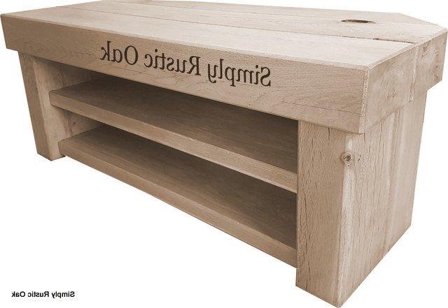 Corner Wooden Tv Stands Pertaining To Trendy Rustic Oak Beam Large Corner Tv Stands – Simply Rustic Oak (View 2 of 20)