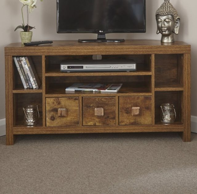 Corner Wooden Tv Stands Within Popular Indian Wood Tv Stand Large Corner Furniture Rustic Mango Unit (Gallery 18 of 20)
