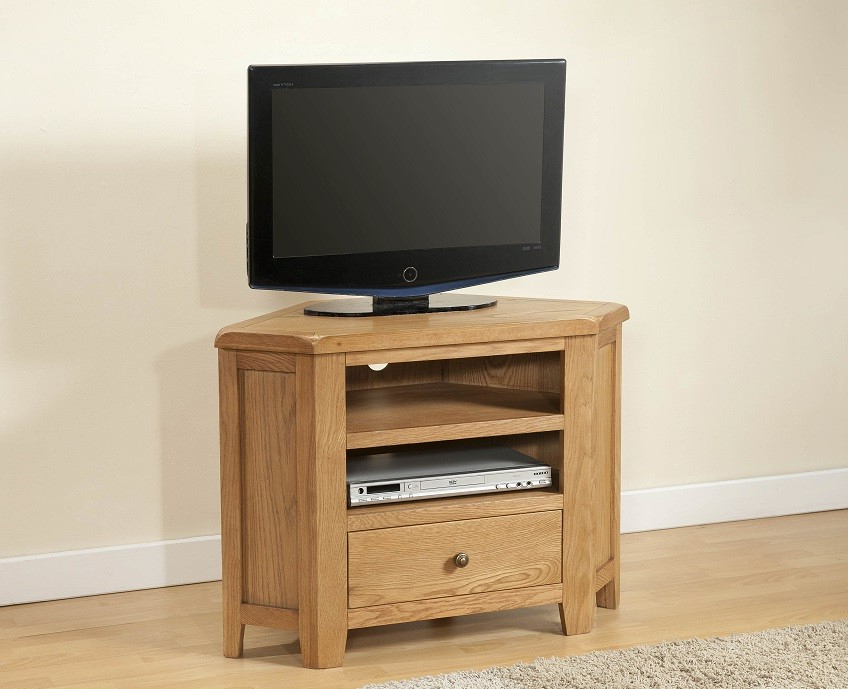 Cotswold Rustic Light Oak Corner Tv Unit (View 1 of 20)