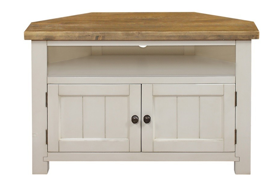 Cotswold Rustic White Corner Tv Unit With Fashionable White Corner Tv Cabinets (View 16 of 20)