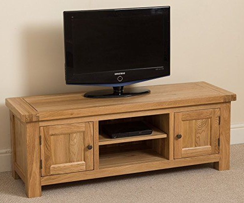 Cottage Solid Oak Widescreen Tv Cabinet Unit , (133 X 44 X 49 Cm With Regard To Trendy Oak Widescreen Tv Units (View 3 of 20)