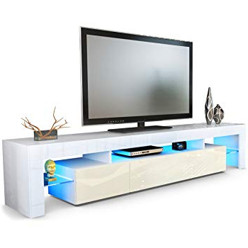 Cream Gloss Tv Stands Throughout Popular Vladon Tv Stand Unit Lima V2, Carcass In White/front In Cream High (Gallery 6 of 20)